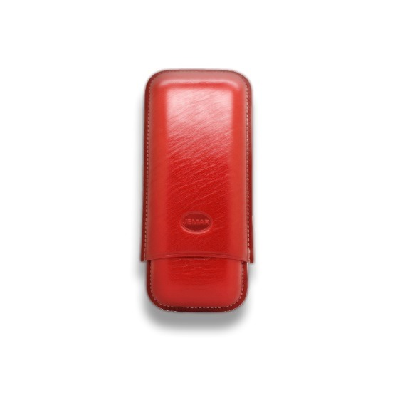 Jemar Red Leather Cigar Case – 2 Robusto